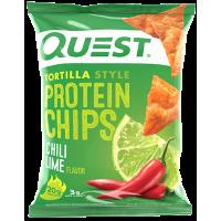 Протеиновые чипсы Тортилья-стиль Чили Лайм, Quesn Nutrition, 32 г